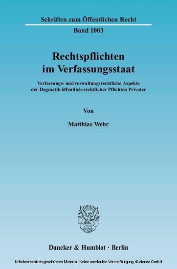 Rechtspflichten im Verfassungsstaat. - Blick ins Buch