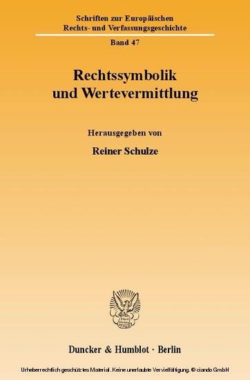 Rechtssymbolik und Wertevermittlung. - Blick ins Buch