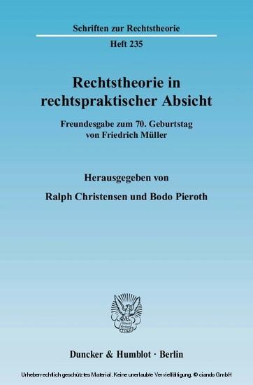 Rechtstheorie in rechtspraktischer Absicht. - Blick ins Buch