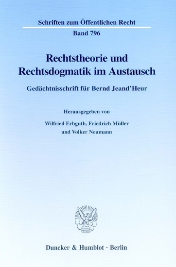Rechtstheorie und Rechtsdogmatik im Austausch. - Blick ins Buch