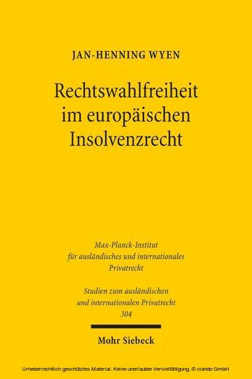 Rechtswahlfreiheit im europäischen Insolvenzrecht - Blick ins Buch