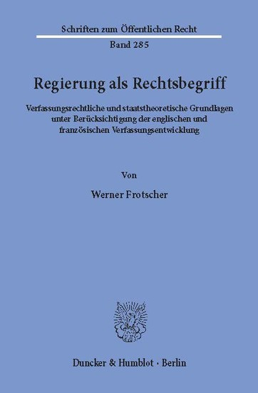 Regierung als Rechtsbegriff. - Blick ins Buch