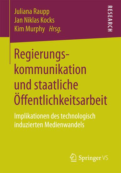 Regierungskommunikation und staatliche Öffentlichkeitsarbeit - Blick ins Buch