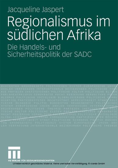 Regionalismus im südlichen Afrika - Blick ins Buch