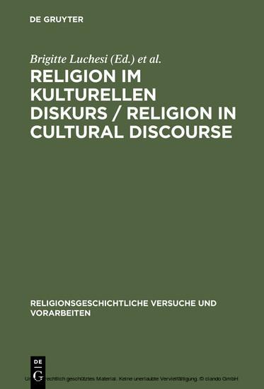 Religion im kulturellen Diskurs / Religion in Cultural Discourse - Blick ins Buch