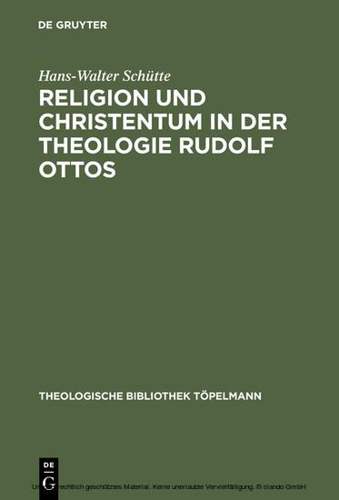 Religion und Christentum in der Theologie Rudolf Ottos - Blick ins Buch