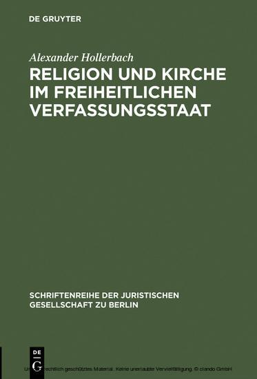 Religion und Kirche im freiheitlichen Verfassungsstaat - Blick ins Buch