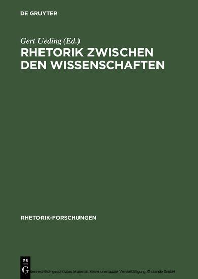 Rhetorik zwischen den Wissenschaften - Blick ins Buch