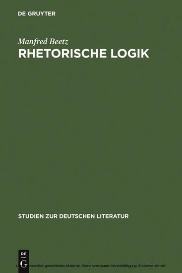 Rhetorische Logik - Blick ins Buch