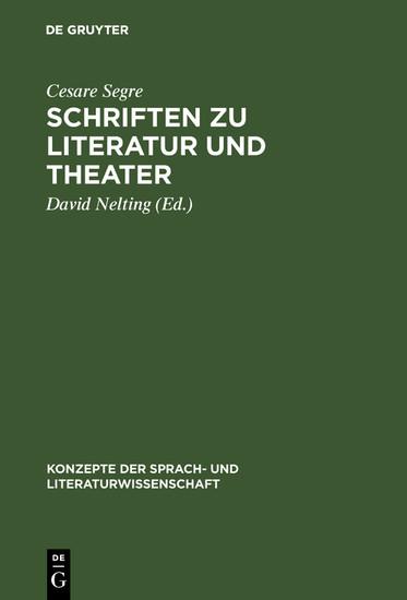 Schriften zu Literatur und Theater - Blick ins Buch