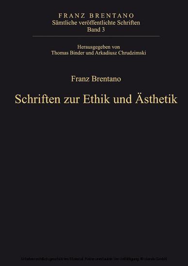 Schriften zur Ethik und Ästhetik - Blick ins Buch