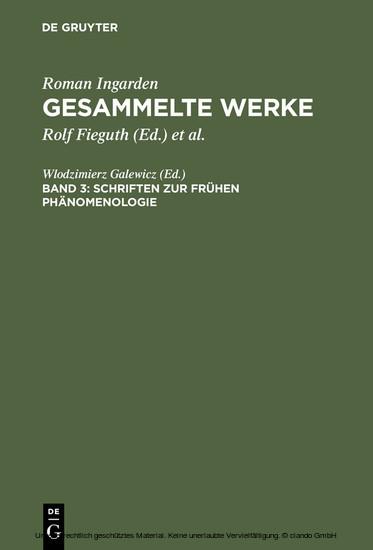 Schriften zur frühen Phänomenologie - Blick ins Buch
