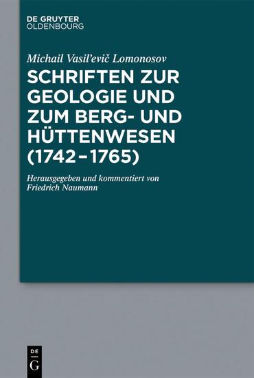 Schriften zur Geologie und zum Berg- und Hüttenwesen (1742-1765) - Blick ins Buch