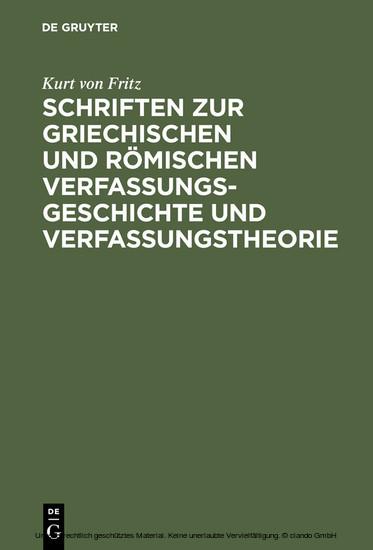 Schriften zur griechischen und römischen Verfassungsgeschichte und Verfassungstheorie - Blick ins Buch