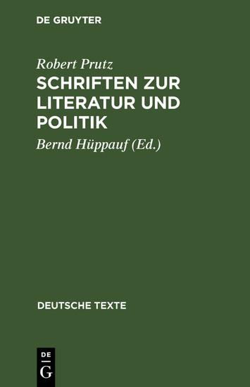 Schriften zur Literatur und Politik - Blick ins Buch