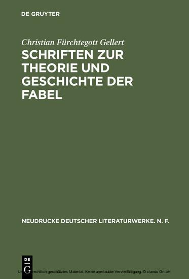 Schriften zur Theorie und Geschichte der Fabel - Blick ins Buch