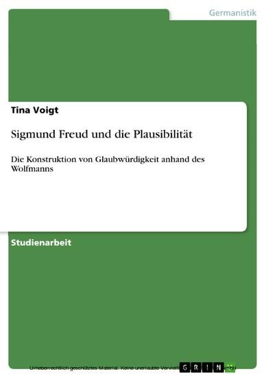 Sigmund Freud und die Plausibilität - Blick ins Buch
