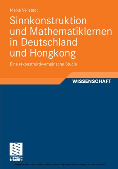 Sinnkonstruktion und Mathematiklernen in Deutschland und Hongkong - Blick ins Buch