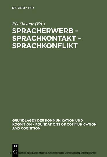 Spracherwerb - Sprachkontakt - Sprachkonflikt - Blick ins Buch