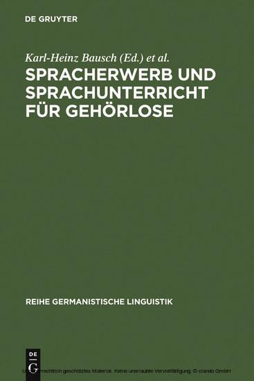 Spracherwerb und Sprachunterricht für Gehörlose - Blick ins Buch