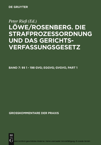 §§ 1 - 198 GVG; EGGVG; GVGVO - Blick ins Buch