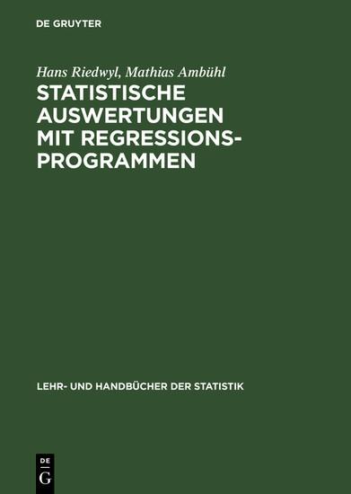 Statistische Auswertungen mit Regressionsprogrammen - Blick ins Buch
