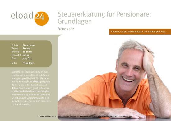 Steuererklärung für Pensionäre: Grundlagen - Blick ins Buch