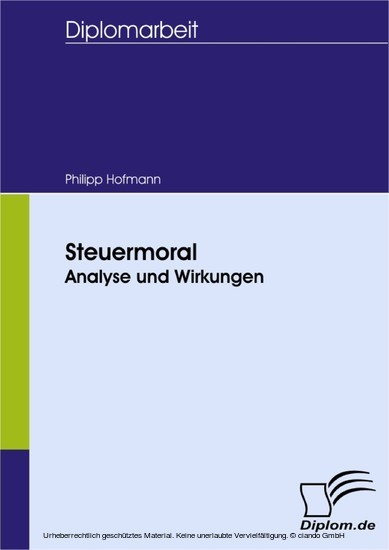 Steuermoral: Analyse und Wirkungen - Blick ins Buch
