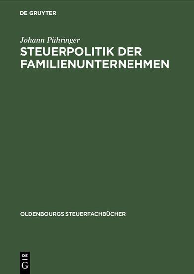 Steuerpolitik der Familienunternehmen - Blick ins Buch