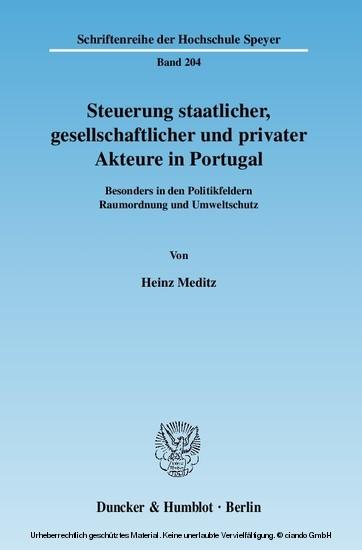 Steuerung staatlicher, gesellschaftlicher und privater Akteure in Portugal. - Blick ins Buch