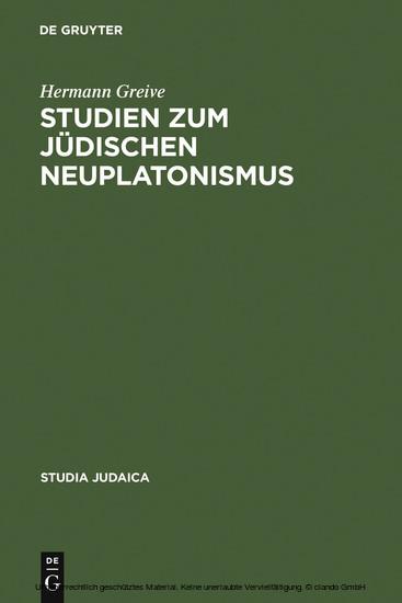 Studien zum jüdischen Neuplatonismus - Blick ins Buch