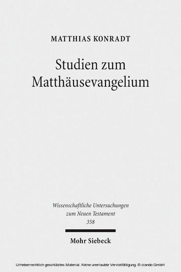Studien zum Matthäusevangelium - Blick ins Buch