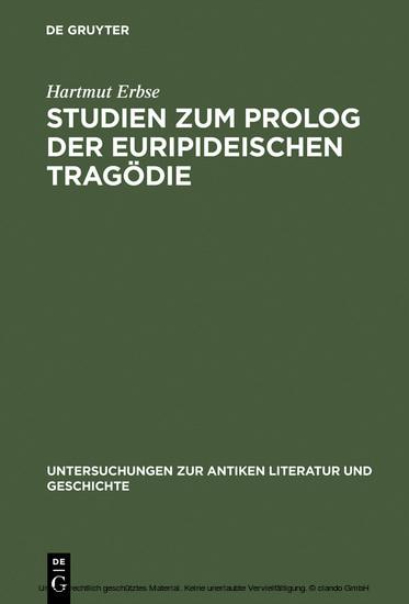 Studien zum Prolog der euripideischen Tragödie - Blick ins Buch