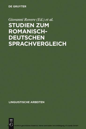 Studien zum romanisch-deutschen Sprachvergleich - Blick ins Buch