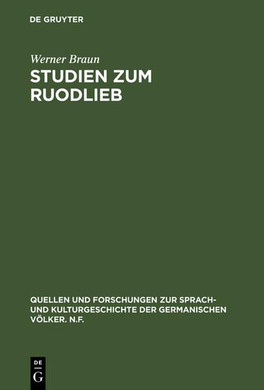 Studien zum Ruodlieb - Blick ins Buch