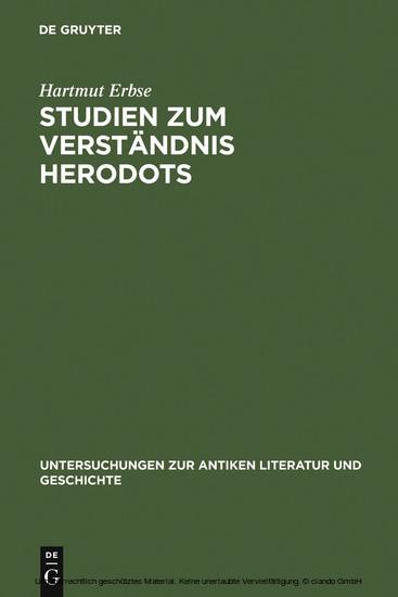 Studien zum Verständnis Herodots - Blick ins Buch