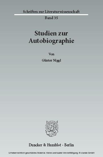Studien zur Autobiographie. - Blick ins Buch