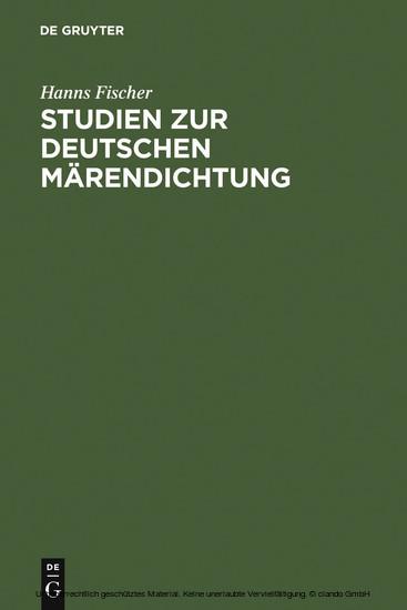 Studien zur deutschen Märendichtung - Blick ins Buch