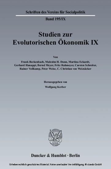 Studien zur Evolutorischen Ökonomik IX. - Blick ins Buch