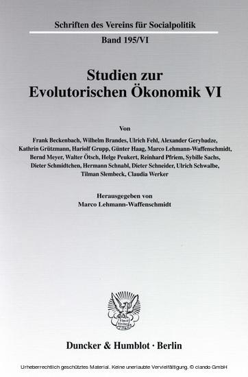 Studien zur Evolutorischen Ökonomik VI. - Blick ins Buch