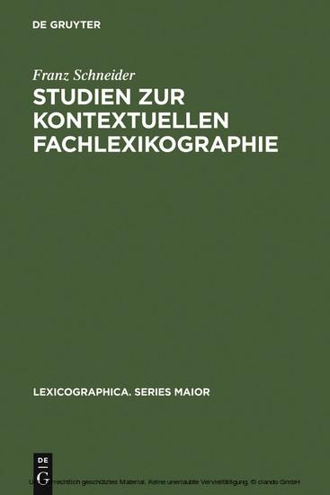 Studien zur kontextuellen Fachlexikographie - Blick ins Buch