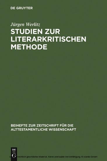 Studien zur literarkritischen Methode - Blick ins Buch