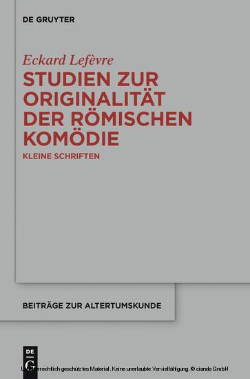 Studien zur Originalität der römischen Komödie - Blick ins Buch