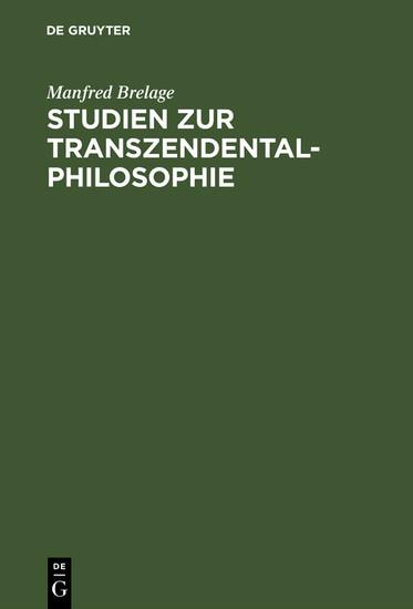 Studien zur Transzendentalphilosophie - Blick ins Buch