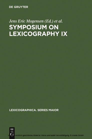Symposium on Lexicography IX - Blick ins Buch