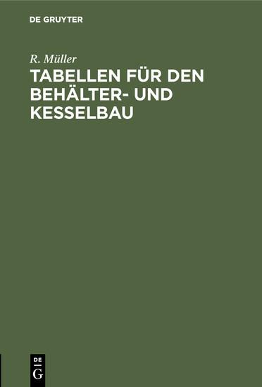 Tabellen für den Behälter- und Kesselbau - Blick ins Buch