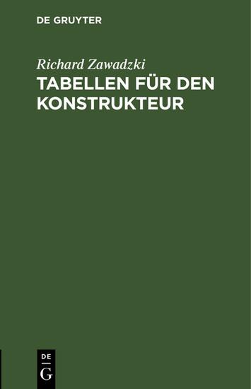 Tabellen für den Konstrukteur - Blick ins Buch