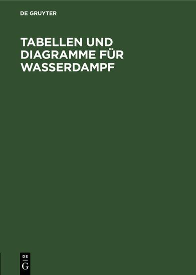 Tabellen und Diagramme für Wasserdampf - Blick ins Buch