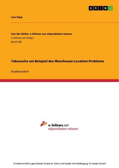 Tabusuche am Beispiel des Warehouse-Location-Problems - Blick ins Buch
