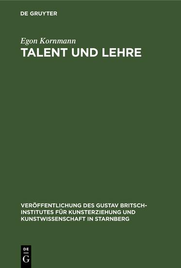 Talent und Lehre - Blick ins Buch
